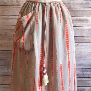 Anthropologie | Pepin Orange Tie-Die Midi Skirt